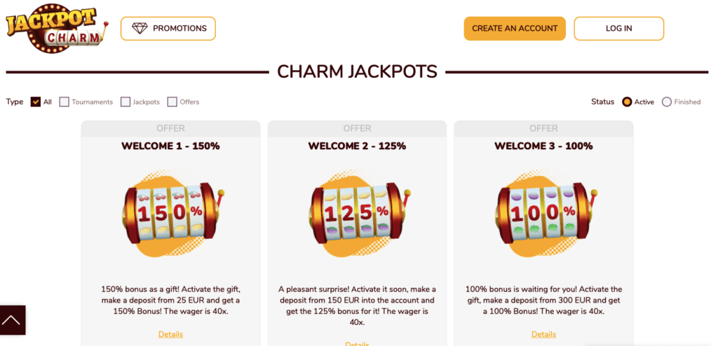 Jackpot Charm casino promotions
